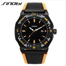SINOBI Marca de Fábrica Superior de Lujo de Los Hombres Deportes Reloj de pulsera de Cuero Reloj de Cuarzo Ocasional Impermeable Montres Reloj Masculino Del Relogio masculino 9559