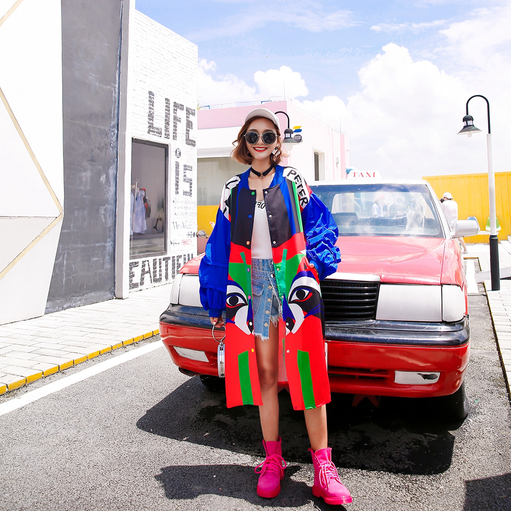 2018 Woman Clothing Graffiti 3D Pattern Long Sleeved Casual New Women Coat Stand Collar Pockets   Trench   Coat Windbreaker