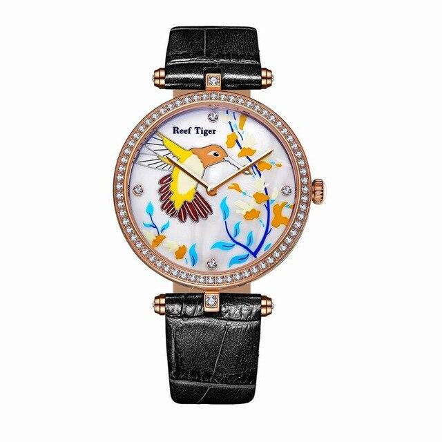 Récif tigre amour Serier RGA1562 montres de mode montres à Quartz pour femmes serpillière cadran en cuir bracelet en acier amoureux montres avec diamants