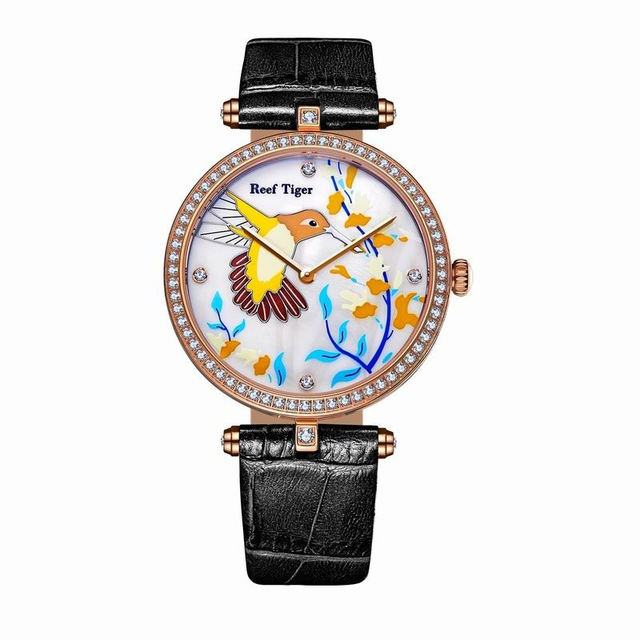 Reef Tiger Love Serier RGA1562 Watches Fashion Quartz Watches for Women MOP Dial Leather Strap Steel Lover Watches with Diamonds все цены