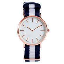 2017 New Sport Korea Style Simple Fashion Minimalist Wrist Quartz Watch Blue Pink Stripe Nylon Band Strap Women Bracelet Clock