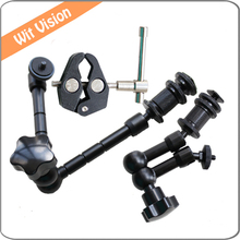 3in1 Movie Kit Metal Super Clamp+7″11″ Magic Arm Articulation Arm For DSLR Rig Camera Camcorder LCD HD Monitor LED Flash Light