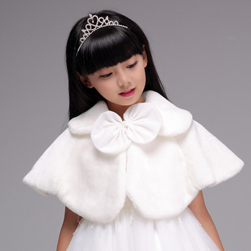 White Fur Coat Wedding Baby Girls Princess Dress Plush -3708
