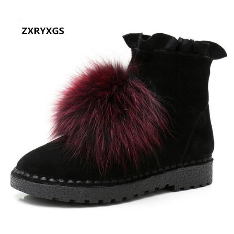 c491f808c2853 Zxryxgs Black Red Marque Femmes black Brown Black 2019 Chaussures Bottes  Cuir Date Mat Cheveux Vache black Chaudes Lapin ...