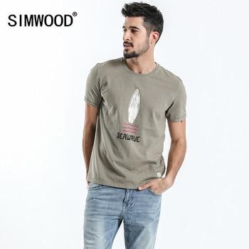 bf6c9c027b2 SIMWOOD 2019 nueva llegada Camisetas Hombre de manga corta 100% algodón  puro Vintage Casual camisetas impresión Tops ropa de marca 180047
