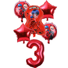 6 шт. Божья коровка воздушный шарик из фольги в форме и 32 дюйма количество Милая Божья коровка воздушный шарик для девочек День Рождения украшения Дети вечерние globos