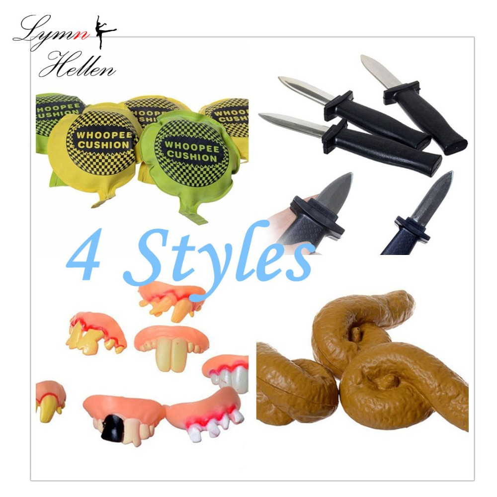 1PCS Joke Tricky Toys Dagger Knife Retractable Denture Rotten Mischief Realistic Shits Whoopee Cushion Fake Tricky Gag Toys