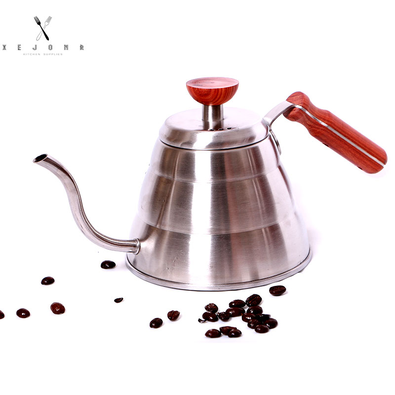 XEJONR Stainless Steel Coffee Pots Wooden Handle 1L Cloud Shape Slender Mouth Coffee Pots Coffeeware Kitchen Cafe Espresso