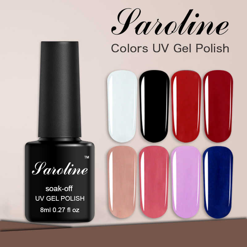 Saroline 3Pcs Pure Color Nail Polish Set Semi-permanent Gel Varnish Art Soak Off Hybrid Lucky Gel Polish Nail Art Lacquer