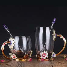 Fashion lead-free glass cup cute flower tea crystal household drinkware coffee heat-resistant creative juice