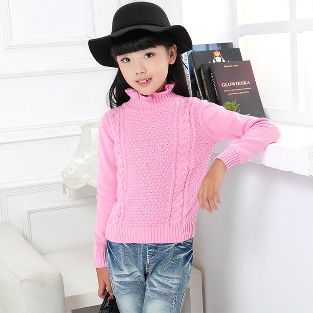 Envío Gratis invierno de los niños de Manga Larga Camisetas para niñas Tejer Suéteres Tops Chicas Jerseys de Cuello Alto Caliente prendas de Vestir Exteriores del Suéter