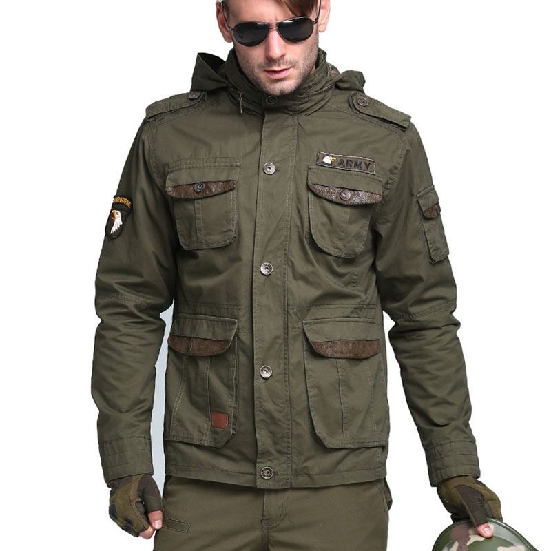 Military Men's Tactical   Trench   Designer 100% Cotton Slim Waist Classic Wadded Windbreaker Men Jacket Overcoat M~3XL CF5076
