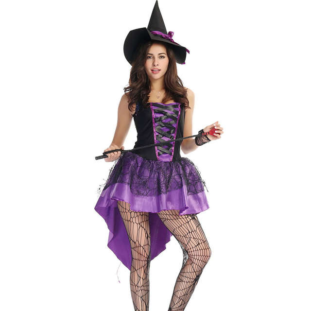 S-XXL Plus Size Large Purple Halloween Witch Costume Costumes for Women  Adult Adulto Fantasia d549bec55e8e