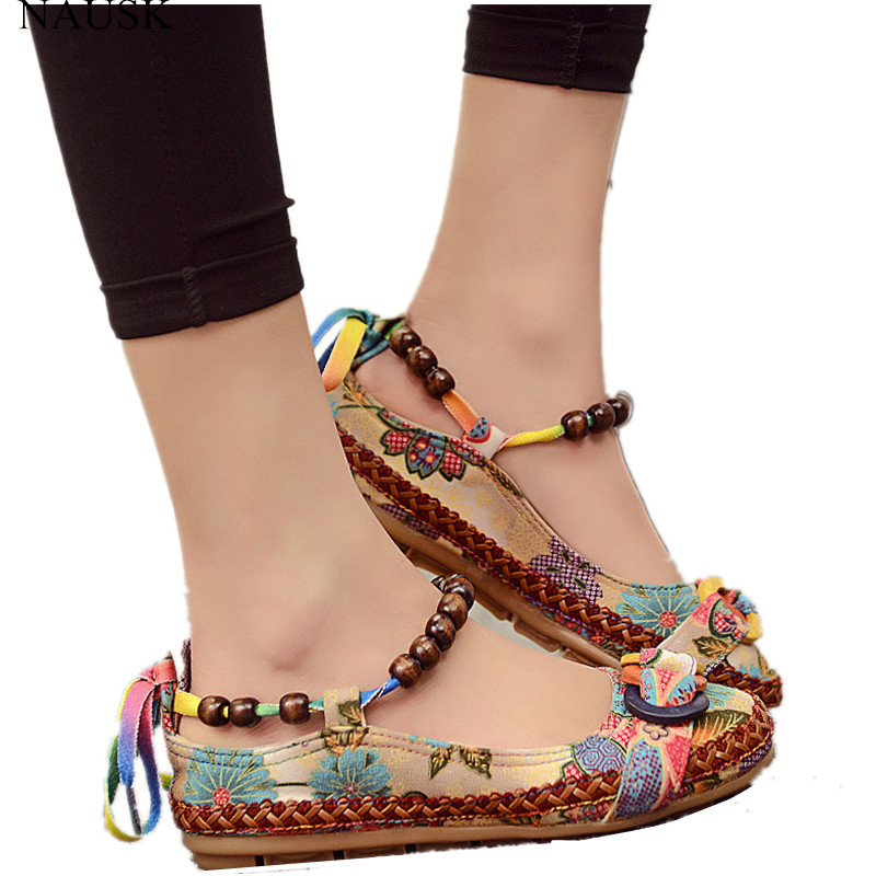 NAUSKNAUSK Plus Size42 Casual Flat Shoes Women Flats Beaded Ankle Straps Loafers Zapatos Mujer Retro Ethnic Embroidered ShoesNAUSKNAUSK Plus Size42 Casual Flat Shoes Women Flats Beaded Ankle Straps Loafers Zapatos Mujer Retro Ethnic Embroidered Shoes