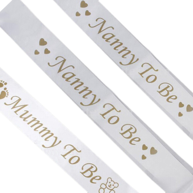 1Pcs 165*10cm Mummy TO BE Nanny TO BE White Satin Sash Banner Footprint Baby