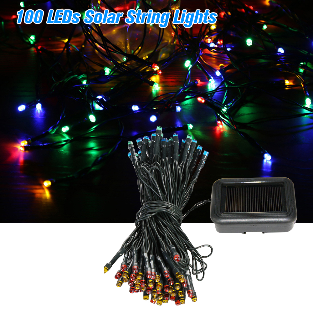 Lovely 100 Leds Solar String Lights 4 Light Colors 8 Modes Ambiance Lighting Outdoor Patio Lawn Party Decor Lamp High Quality And Low Overhead Security & Protection