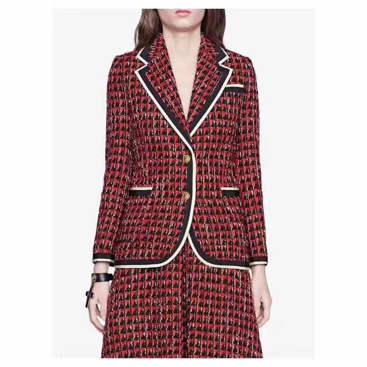 2019 Tweed Temperament Women's Suit Two Piece Set Fashion Suits Top And Skirt Spring Office 2 Piece For Women Gareer Clothes