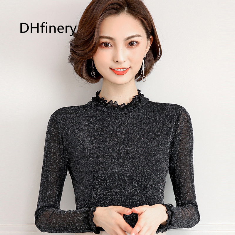 Tops & Tees Conscientious Dhfinery Shiny Silver Thread Lace Top Women Autumn Winter Long-sleeve Stand Collar T Shirt Black One Size Mesh Tshirt H8336 Women's Clothing