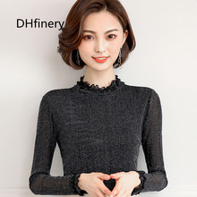 DHfinery Shiny silver thread lace top women autumn winter long-sleeve stand collar t shirt black one size mesh tshirt H8336