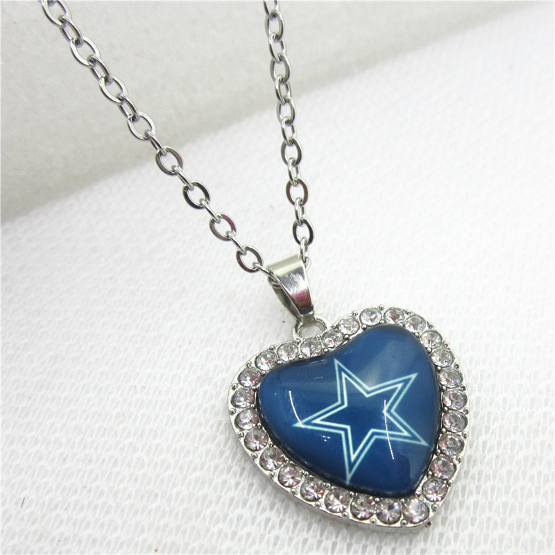 10pcs/lot USA Dallas Cowboys Heart Necklace Pendant Jewelry With Chains Necklace DIY Jewelry Football Sports Charms