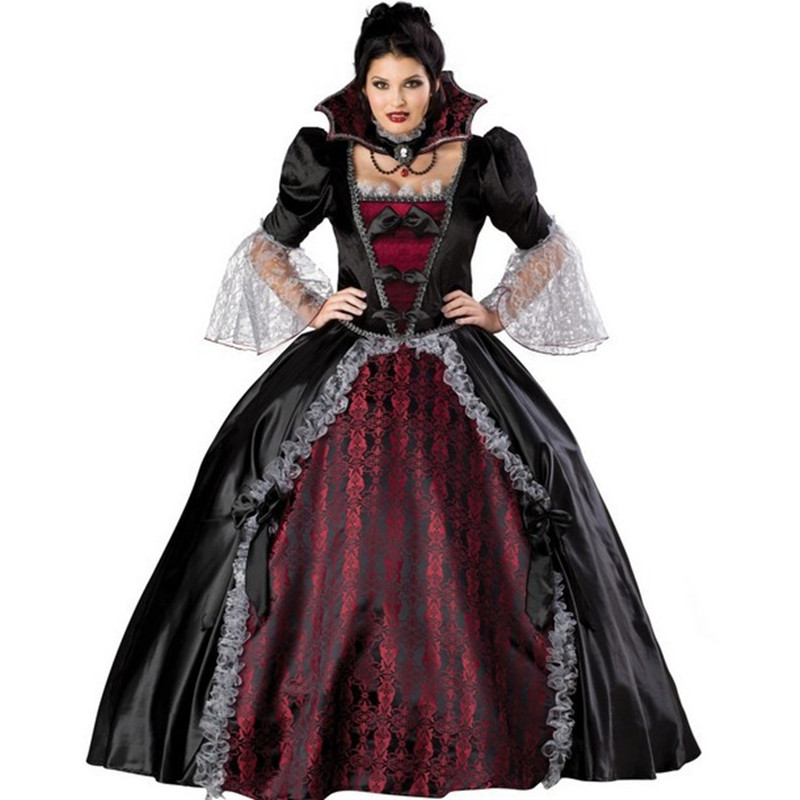 Luxury Halloween Cosplay Vicious queen women costume dress vintage gothic stand collar Masquerade clothing theme party
