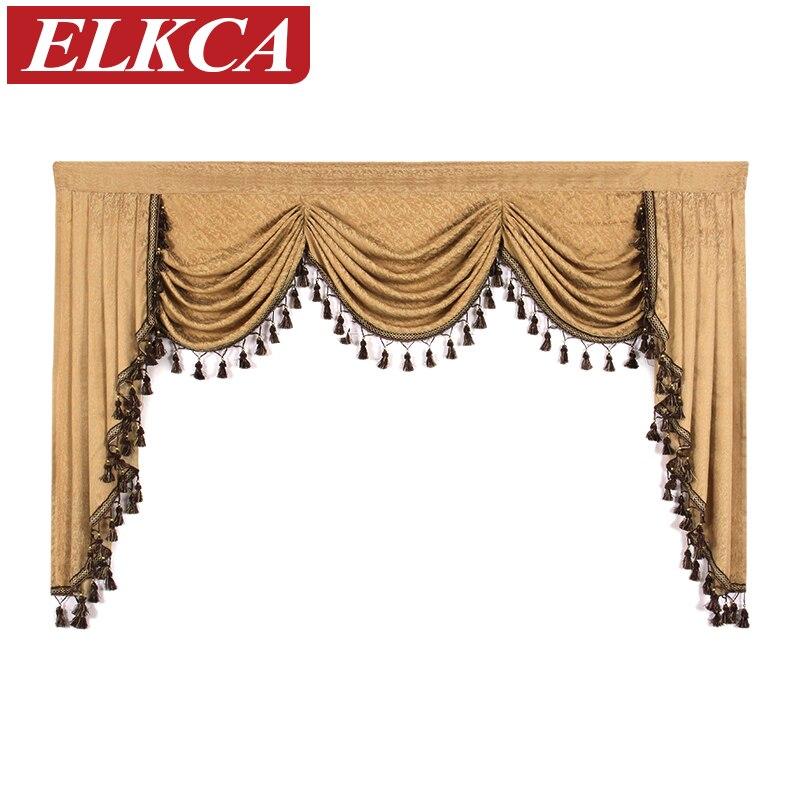 1 pièce européenne luxe cantonnières pour salon cascade cantonnières pour cuisine moderne rideaux pour salon Swag cantonnières