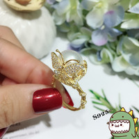 Модные кольца Ювелирные изделия из жемчуга 8 8,5 мм бабочка кольца естественный пресноводный жемчуг 925 пробы Серебряные ювелирные изделия дл
