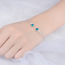 LUKENI Charm Crystal Star Bangles Jewelry For Women Jewelry Top Quality 925 Sterling Silver Bracelets Girl Party Accessories Hot