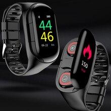 KEBIDU M1 TWS سماعة لاسلكية تعمل بالبلوتوث سماعة الرياضة ساعة معصمه مع مراقب معدل ضربات القلب صحيح ستيريو لاسلكي واقي أذن رياضي