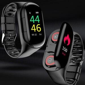 Image 1 - KEBIDU New Design M1 AI Smart Watch Bluetooth Headphone Heart Rate Monitor Smart Wristband Long Time Standby Fitness Bracelet
