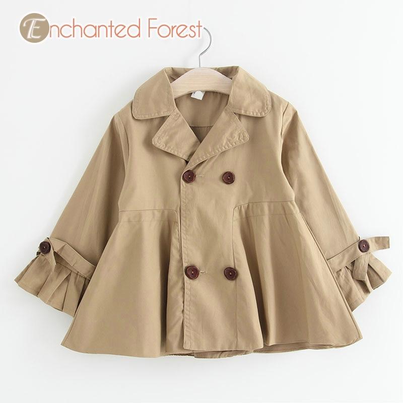 Girl Outerwear 2018 autumn solid cute Girl windbreaker children's jacket kid clothes children's lapel long coat kid Outerwear