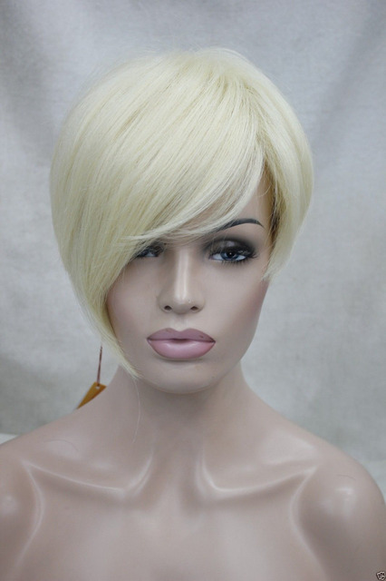 xd j001732 High quality synthetic asymmetrical tilted bangs pale blonde  straight short wig 8f52b6866