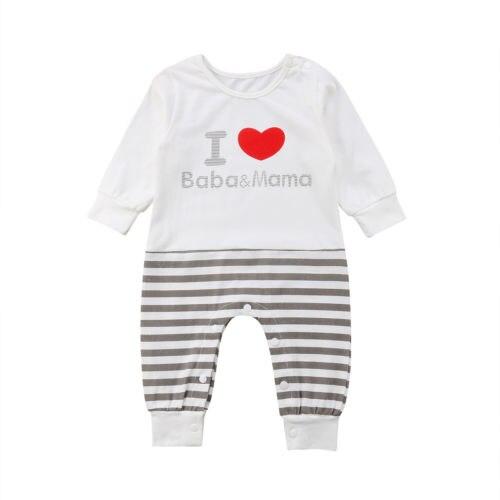 4451b3239 Newborn Kids Baby Girls Boy Clothing Letter I Love Baba Mama Romper ...