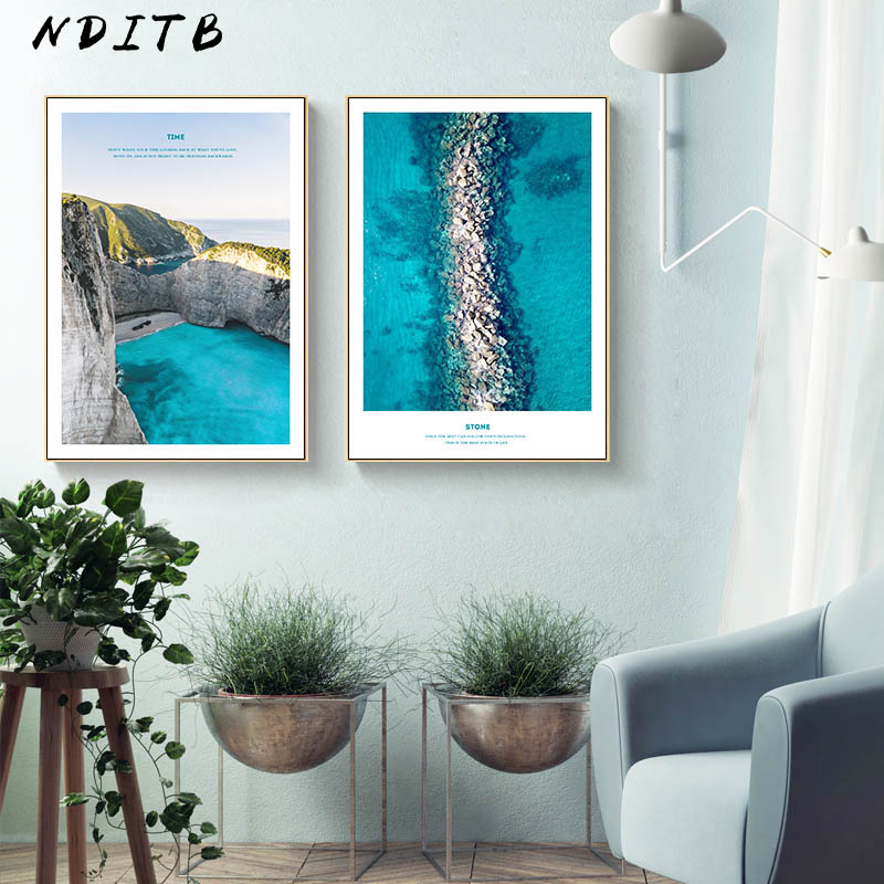 Scandinavian Blue Ocean Sea Landscape Canvas Wall Art Poster Nordic Nature Print Painting Decorative Picture Home Decoration in Painting Calligraphy from Home Garden