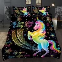 3D Duvet Cover Rainbow Unicorn Fairytale with Sparkling Stars Cartoon Digital Printing Bedding Sets Kids Room Decoration