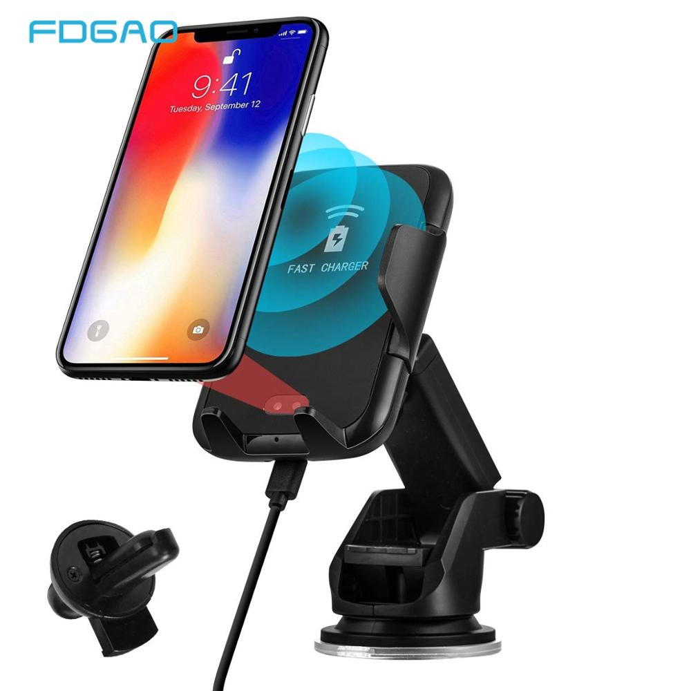 Qi Fast Charger Automatic Infrared Induction Phone Mount Car Air Vent /& Dashboard Phone Holder Charging for Samsung S9//S9 Plus,iPhone X//XS//XS MAX and All Qi Enabled Devices B218 FDGAO Wireless Car Charger