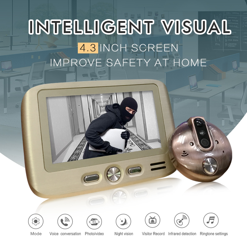 R103 Front Door Camera Mirilla Electronica Puerta 4.3 Inch TFT LCD IR Night Vision PIR Motion Detection Video Record Photos Take