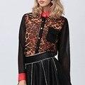 2017 Новая Мода Женщины Шифон Leopard Топы Блузки Дамы Кнопка С Длинным Рукавом Нагрудные Лоскутное Вскользь Рубашки