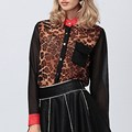 2017 New Fashion Women Chiffon Leopard Tops Blouses Ladies Button Long Sleeve Lapel Patchwork Casual Shirts