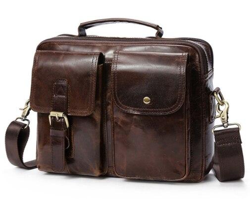 Men Vintage Crossbody Bags Genuine Leather Messeng Bags Male Top handle Shoulder Bags Hasp business Casual