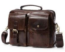 Hommes Vintage sacs à bandoulière en cuir véritable Messeng sacs mâle Top poignée sacs à bandoulière Hasp affaires décontracté Messenger sac