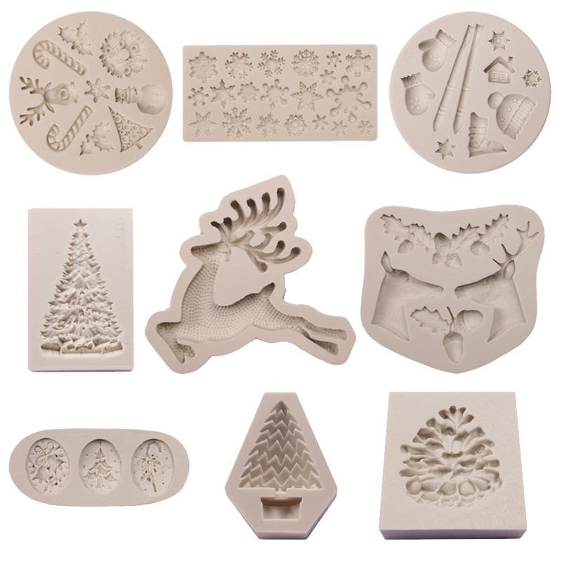Silicone Christmas Tree Elk Snowman Snowflake Pine Cone Cookie Cutter Mold DIY Chocolate Mould 3D Baking Cake Decor Tools K149
