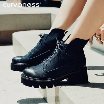 Curvaness 2019 Autumn And Winter Martin Boots Female Multi-functional Lace-up Boots Women's Casual Flat Tooling Boots Women