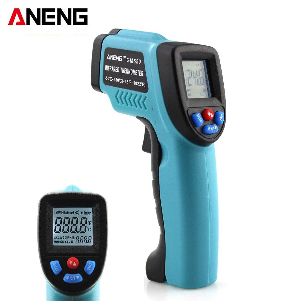 ANENG GM550 Digital Infrared IR Thermometer Temperature Tester Pyrometer Laser LCD Display +Backlight -50~550 Centigrade Degrees