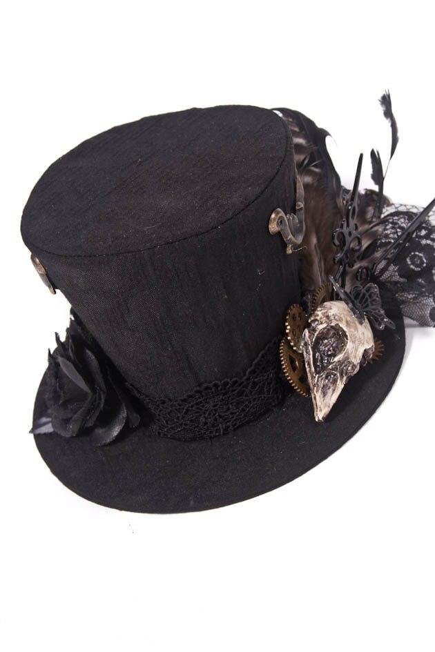 Vyrų gotikos juoda paukščių plunksna Steampunk viršų skrybėlę - Karnavaliniai kostiumai - Nuotrauka 4