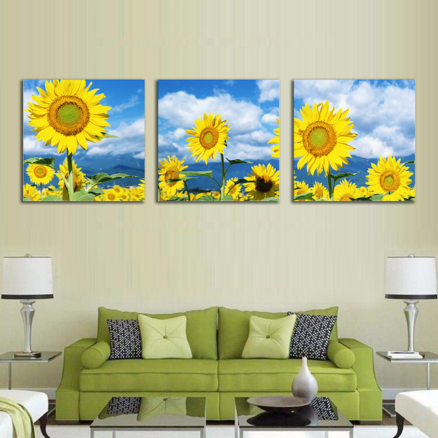 Laeacco Canvas Calligraphy Printing Blooming Sunflower Poster Natural Wall Art Pictures For Home Decor Living Room Decoration
