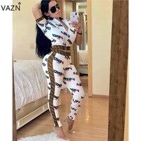 VAZN 2019 fashion design 2 Pieces high street women set print short sleeves zipper fly t shirt full pants women new set ASL6108