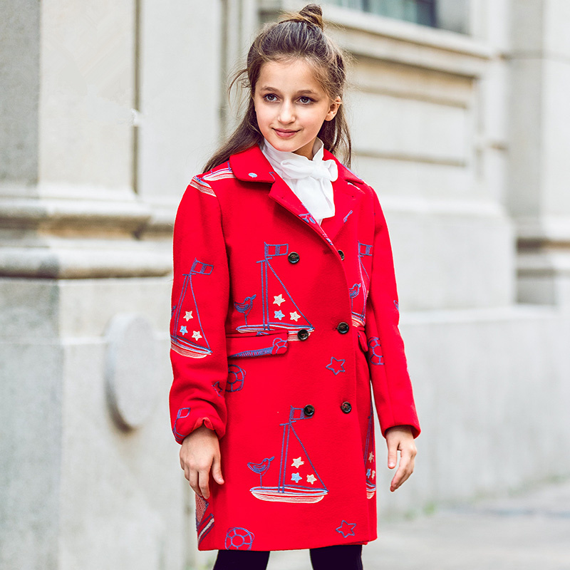 brand children's clothing in the big girl wool coat autumn and winter children's long section of the red double-breasted trench yagenz 2017 new feather cotton coats winter korean version of the long section of the big hair collar loose thick cotton coat