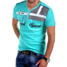 a9f16140537 ZOGAA Hombre con cuello en V de algodón camisa de POLO manga corta Slim Fit  camisetas