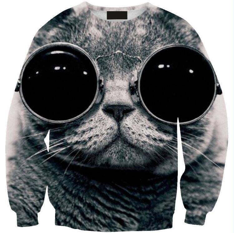 New Fashion 2017 <font><b>Women</b></font>/<font><b>Men</b></font> Red and blue <font><b>glasses</b></font> <font><b>cat</b></font> Pullovers Funny 3d <font><b>sweatshirts</b></font> <font><b>animal</b></font> galaxy sweats Hoodies tops plus size